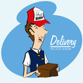Delivery courier icon over beige background vector illustration Stock Photography