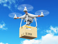 Delivery drone with cardboard box in the blue sky