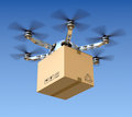 Delivery drone with the package d concept Royalty Free Stock Photos