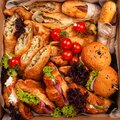 Delivery of food in a box, delicious and fresh food. Convenient boxing for eating at home, at work, in nature. Croissants with ham Royalty Free Stock Photo