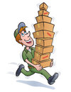 Delivery guy running with packages cartoon illustration of a a stack of to deliver and the top one teetering and almost ready to Royalty Free Stock Images