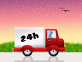 Delivery in hours illustration of truck the city Royalty Free Stock Photo