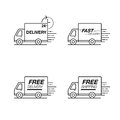 Delivery icon set. Truck service, order, 24 hour, fast and free
