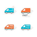 Delivery icon set. Van service, order, 24 hour, fast and free wo Royalty Free Stock Photo