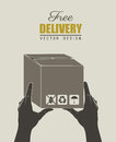 Delivery icons with box over gray background vector illustration Royalty Free Stock Photos