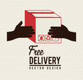 Delivery icons with box over lines background vector illustration Stock Photography