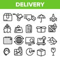 Delivery Line Icon Set Vector. Fast Transportation Service. Delivery 24 Logistic Support Icons. Express Order. Thin