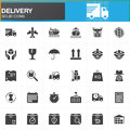 Delivery and logistics vector icons set, modern solid symbol collection