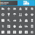 Delivery and logistics vector icons set, modern solid symbol collection, filled white pictogram pack. Signs, logo illustration.