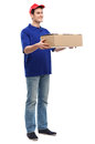 Delivery man with cardboard box Royalty Free Stock Photos