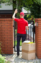 Delivery man delivering packages to home Royalty Free Stock Photo