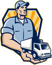 Delivery man handing removal van crest retro illustration of a guy with moving truck on the palm of his hand it over to you set Stock Image