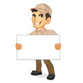 Delivery man holding blank sign