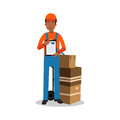 Delivery man holding delivering and documents, courier in uniform at work cartoon character vector Illustration