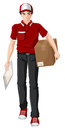 A delivery man illustration of on white background Royalty Free Stock Photo