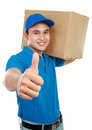 Delivery man thumb up Royalty Free Stock Photography