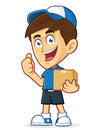 Delivery man vector clipart picture of a male cartoon character carrying a box Royalty Free Stock Photography