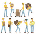 Delivery And Moving Company Employees Carrying Heavy Objects, Delivering Shipments And Helping With Removal Set Of