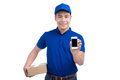 Delivery Person. Asian postman with parcel box showing mobile ph