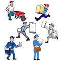 Delivery Person Mascot Cartoon Set Royalty Free Stock Photo