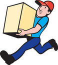 Delivery person worker running delivering box Royalty Free Stock Images