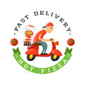Delivery pizza badge man on scooter vector illustration.