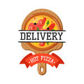 Delivery pizza badge vector illustration.