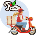 Delivery pizza blond girl red scutter Stock Images