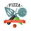 Delivery pizza knife and spatula badge vector illustration.