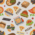 Delivery pizza logo badge pizzeria restaurant service fast food vector illustration seamless pattern background