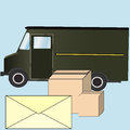 Delivery and post service, envelope and boxes