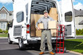 Delivery postal service man happy professional shipping courier Stock Photography