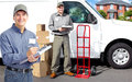 Delivery postman group of professional post workers service Stock Photo