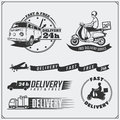 stock image of  Delivery Service labels, emblems, badges and design elements. 24 Hours food delivery.