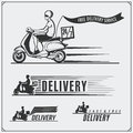 Delivery Service labels, emblems, badges and design elements. 24 Hours food delivery. Vintage styl