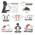 Delivery service mail, food express online shop vector icons set Royalty Free Stock Photo