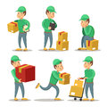 Delivery Service Man Cartoon Character Set. Courier with the Box