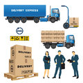 Delivery and shipment service set of vector illustration Stock Image