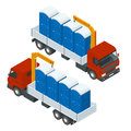 Delivery or shipping bio toilet cabins. Blue bio toilet in city. Hiking services. Flat color style vector illustration