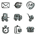 Delivery or Shipping Icons Freehand 2 Color