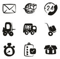 Delivery or Shipping Icons Freehand Fill