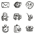 Delivery or Shipping Icons Freehand