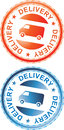 Delivery Sign Orange and Blue Stock Photo