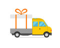 Delivery transport gift box truck vector illustration.