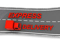 Delivery truck d illustration of and sign express aerial view Royalty Free Stock Image