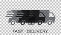 Delivery truck logo vector illustration. Fast delivery service s Royalty Free Stock Photo