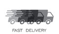 Delivery truck logo vector illustration. Fast delivery service shipping icon.