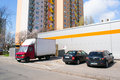 Delivery truck poznan poland march unloading goods by a supermarket Stock Image