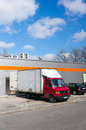 Delivery truck poznan poland march unloading goods by a supermarket Royalty Free Stock Image