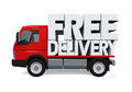 Delivery Van with Free Delivery Text Royalty Free Stock Photo